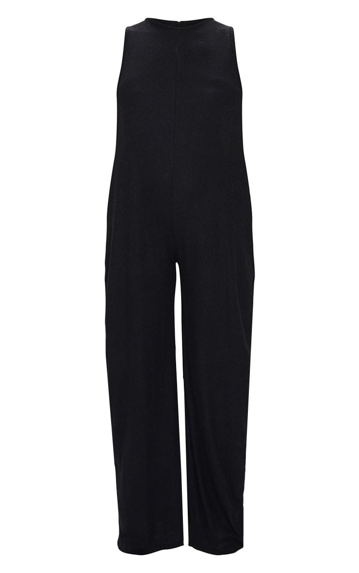 Black Brushed Rib Oversized Low Armhole Jumpsuit 5