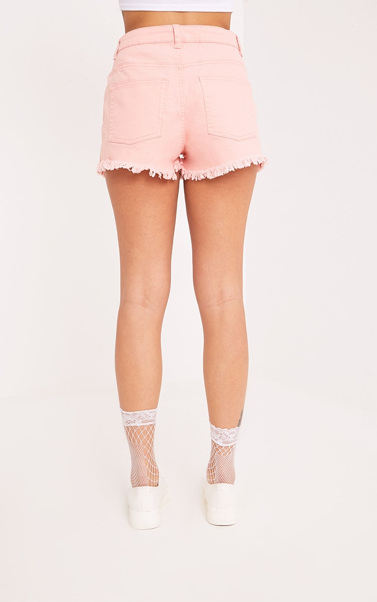 Jaydanne Pink Fray Edge Denim Short 4