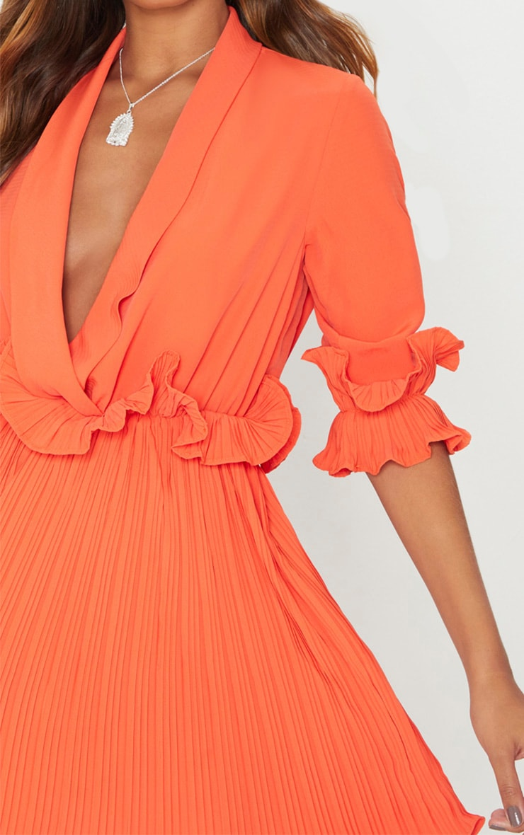 Bright Orange Frill Detail Pleated Skater Dress 5