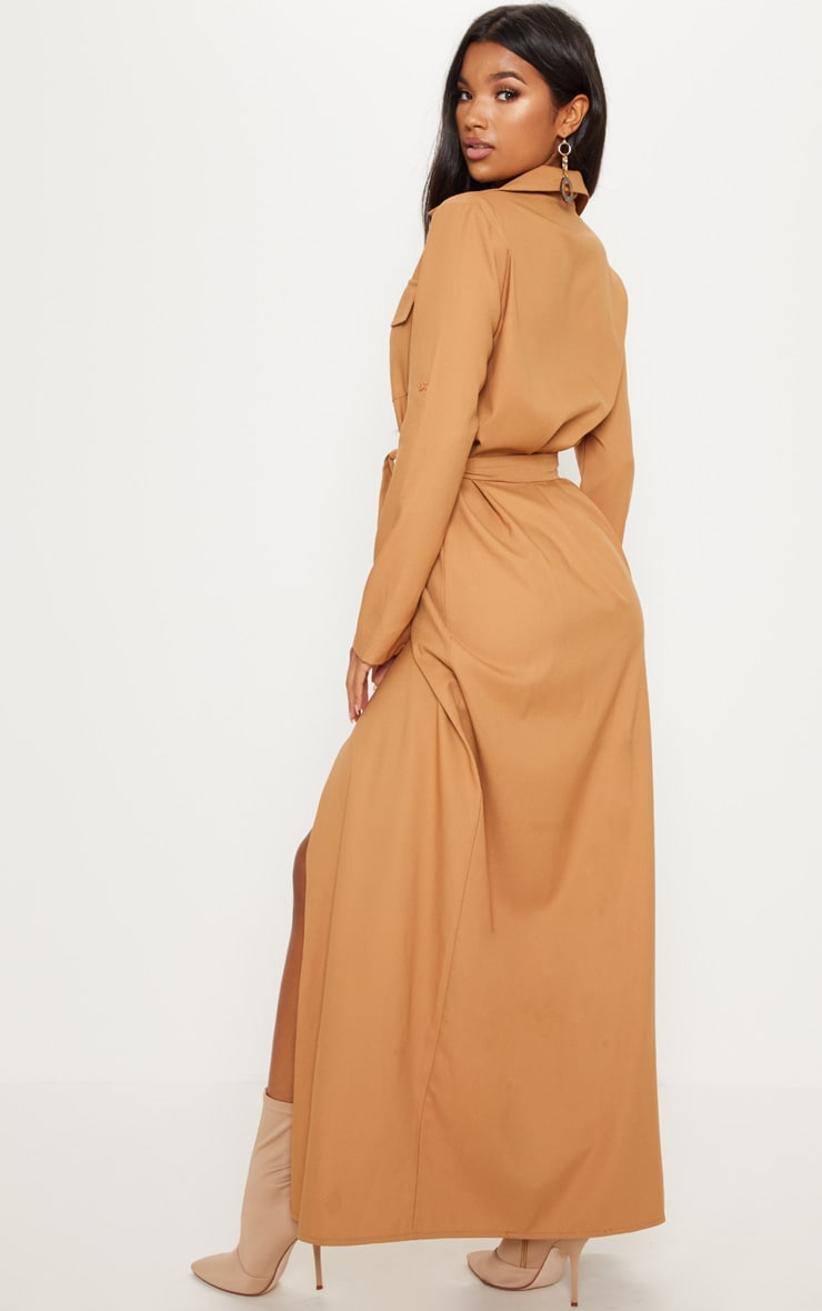 Dark Camel Maxi Shirt Dress 2
