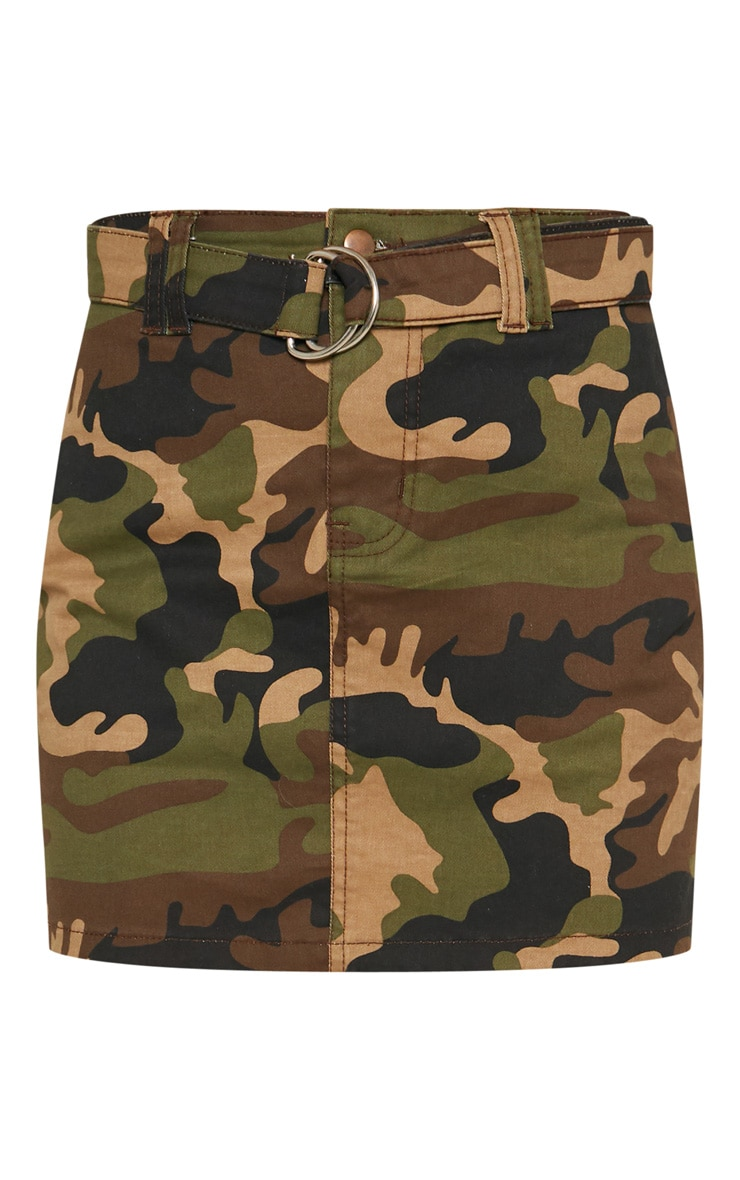 Camo O-Ring Belted Denim Skirt  3