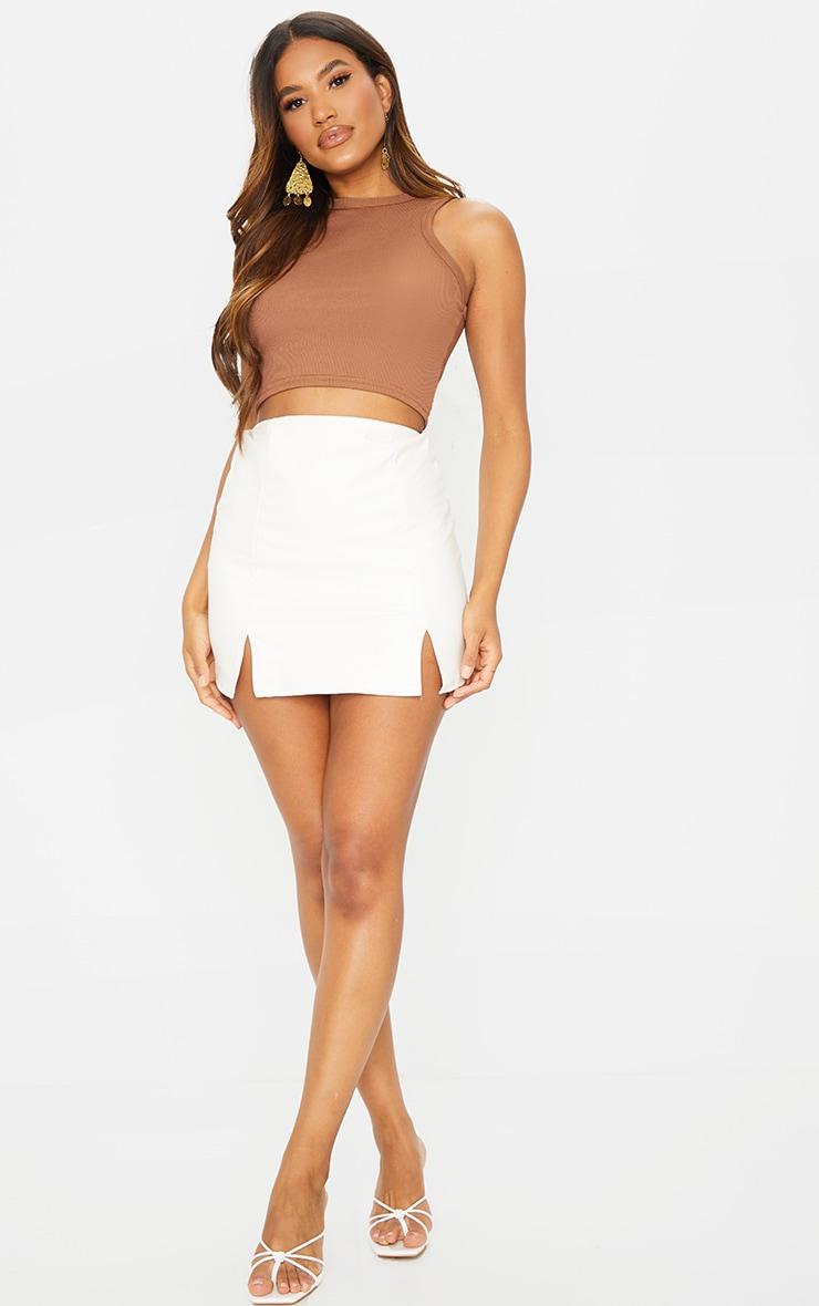 Cream Faux Leather Split Hem Mini Skirt 4