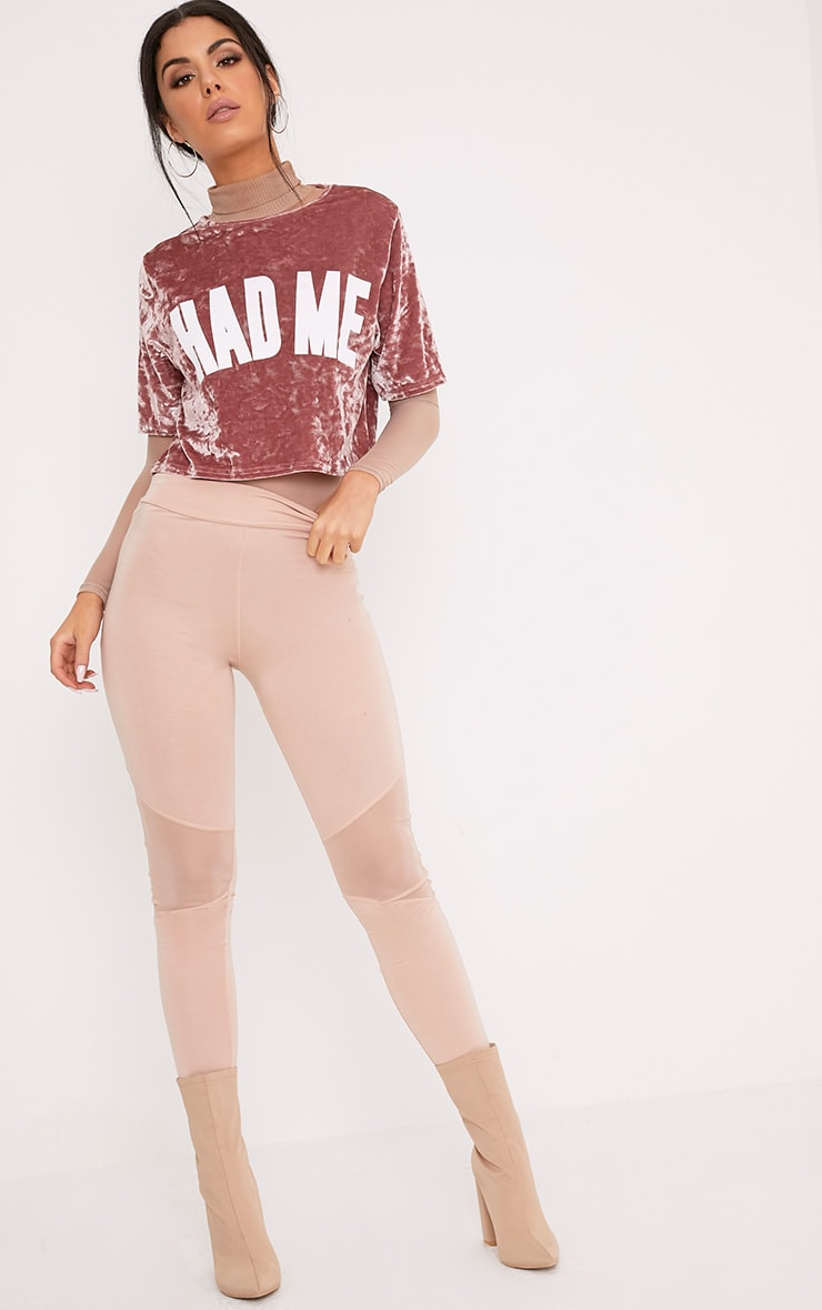 HAD ME Slogan Dusty Pink Crushed Velvet Crop T Shirt  4