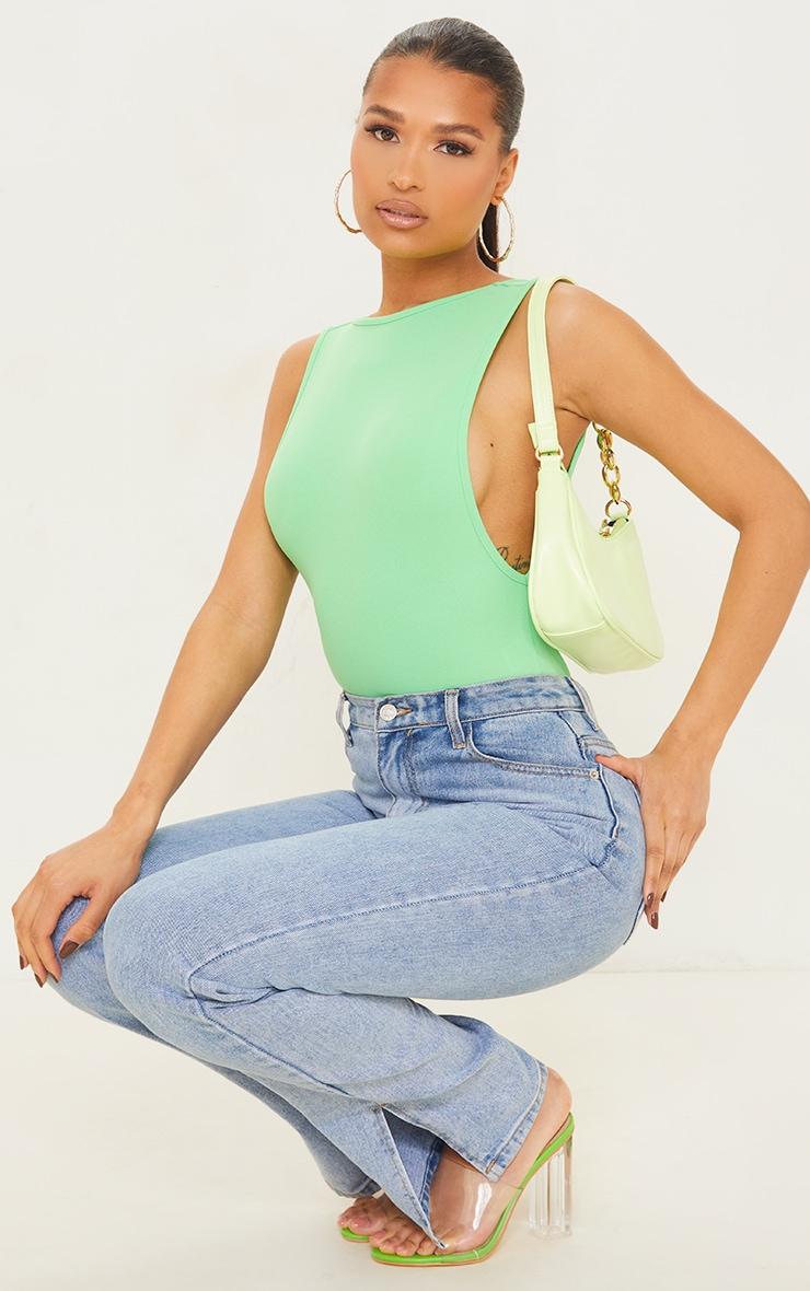 Apple Green Crepe Side Boob Thong Bodysuit 1