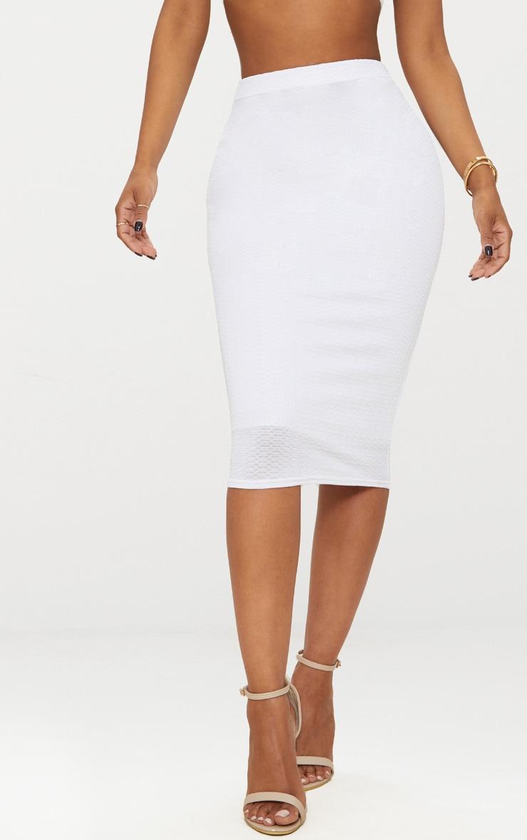 Shape White Textured Midi Skirt 4
