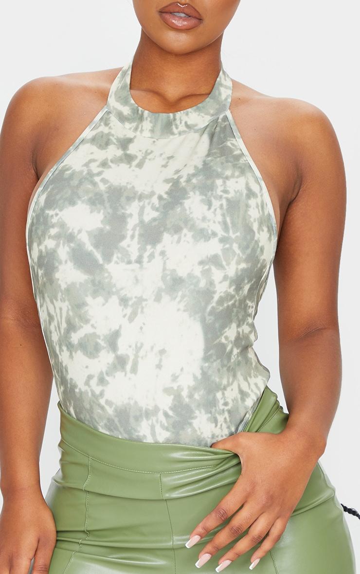 Khaki Tie Dye Crepe Halterneck Back Panel Bodysuit 4