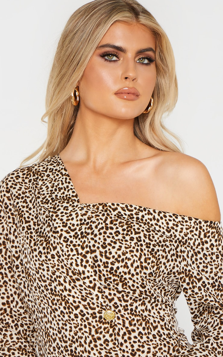 Tall Cream Leopard Print Off The Shoulder Long Sleeve Blazer Dress 5