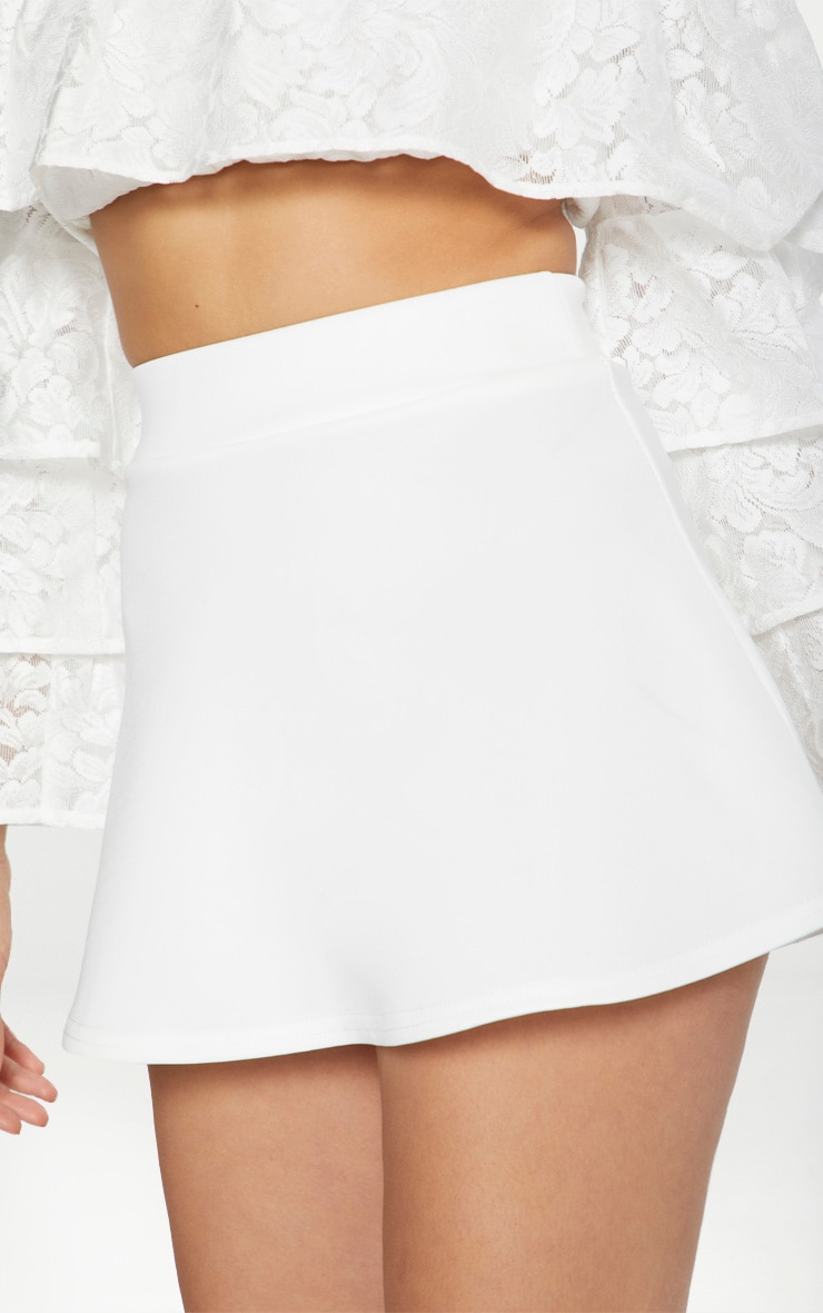 White Scuba Flippy Mini Skirt 6