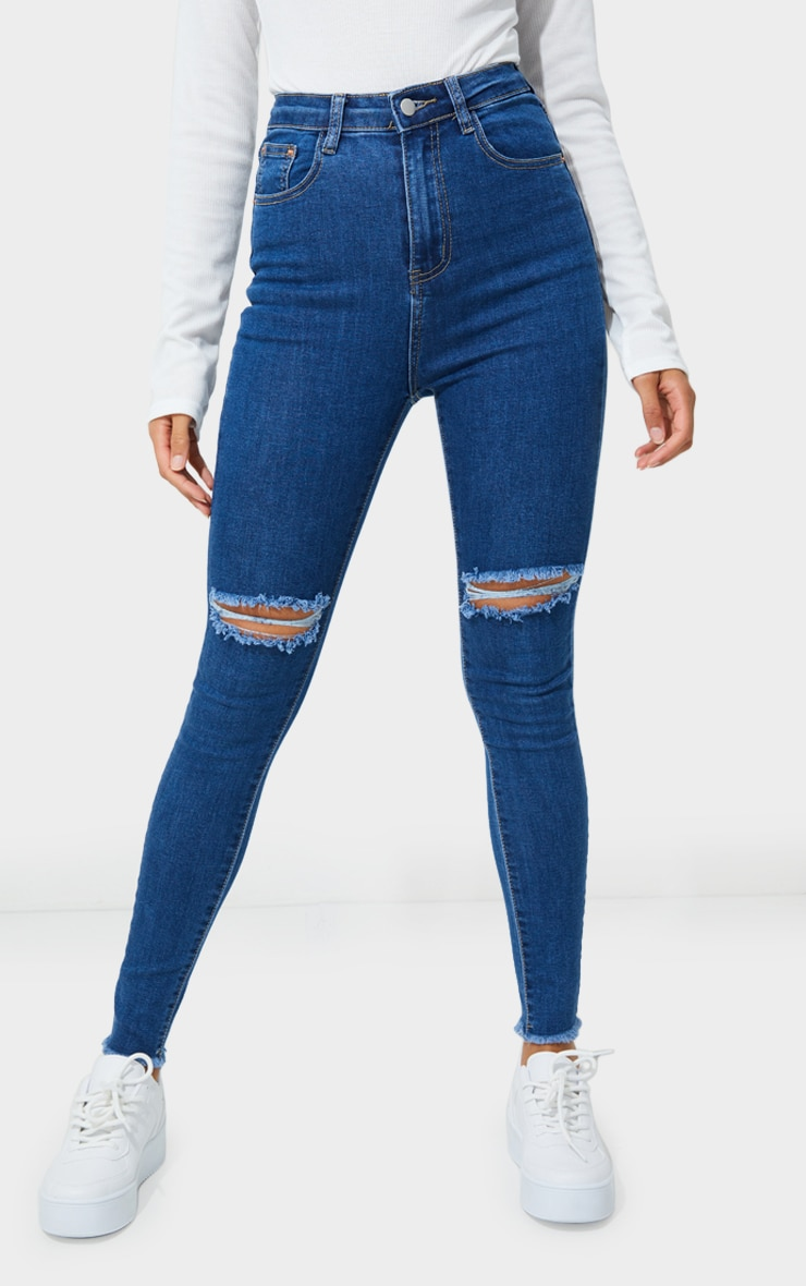 PRETTYLITTLETHING Mid Blue Wash Open Knee Raw Hem 5 Pocket Skinny Jeans 2