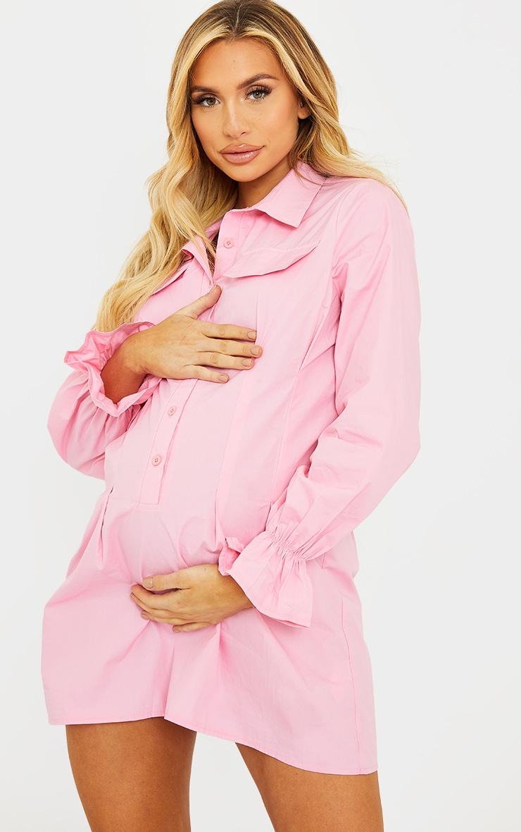 Maternity Pink Utility Shirt Dress 1