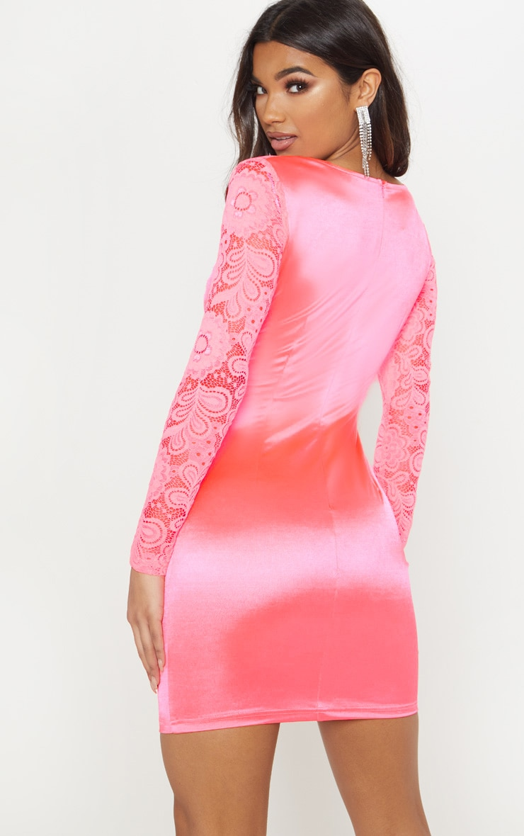 Hot Pink Satin Lace Sleeve Bodycon Dress 2
