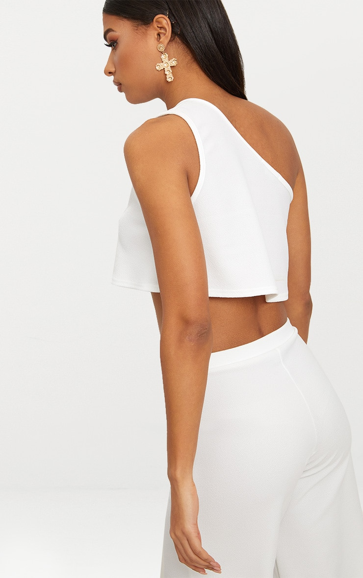 White One Shoulder  Crop Top 2
