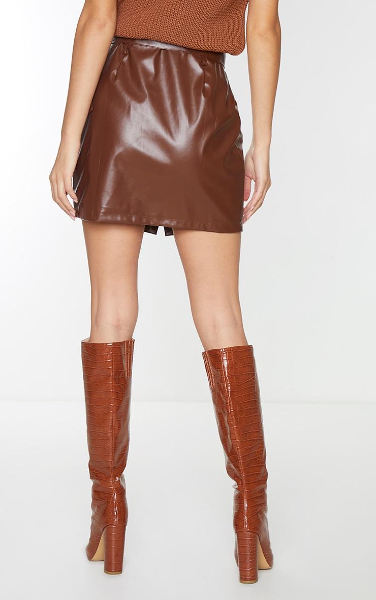Chocolate Faux Leather Button Through Mini Skirt 3