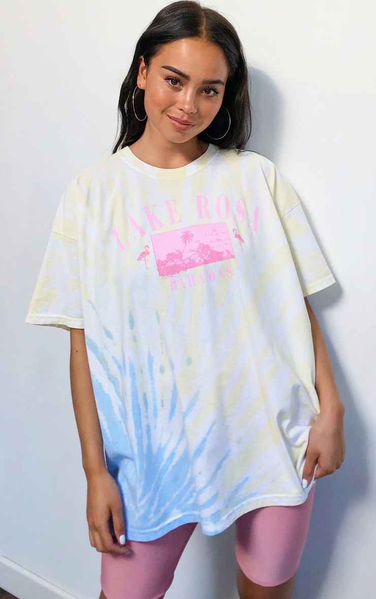 Yellow Lake Rosa Logo Oversized Tie Dye T Shirt 1