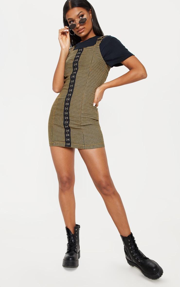 Check Square Neck Hook Detail Denim Dress 1