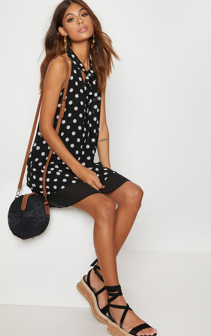 Black Chiffon Polka Dot Swing Dress 1