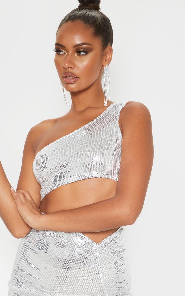 Silver One Shoulder Sequin Crop Top 5