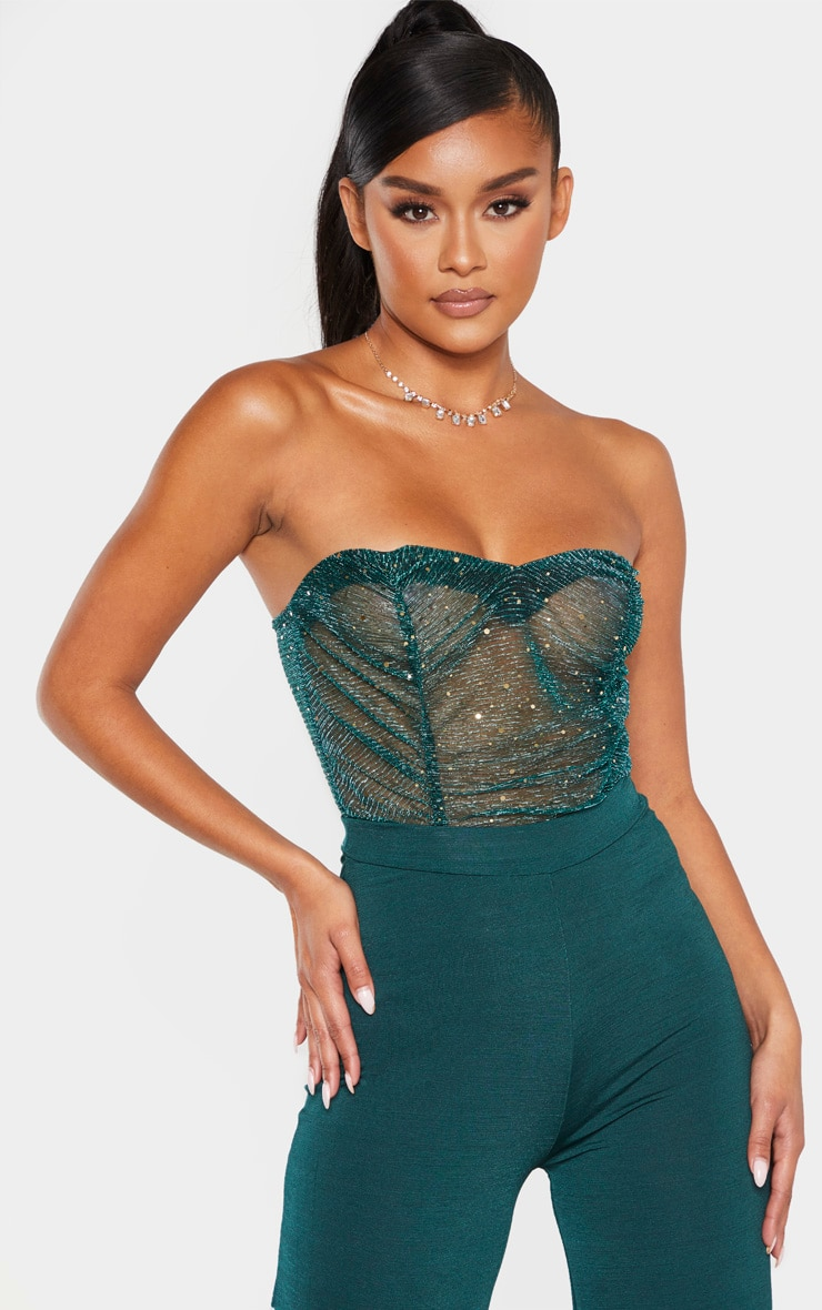 Dark Green Sequin Mesh Bandeau Bodysuit 1