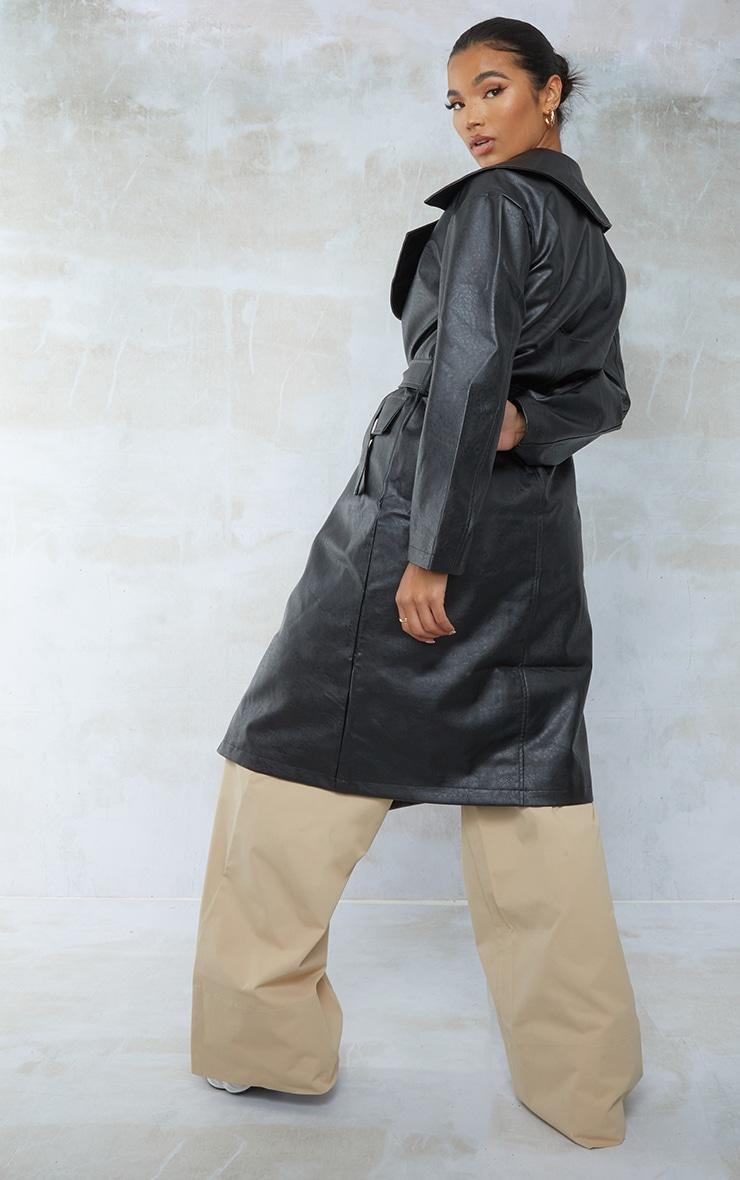 Black Faux Leather Oversized Midi Trench Coat 2