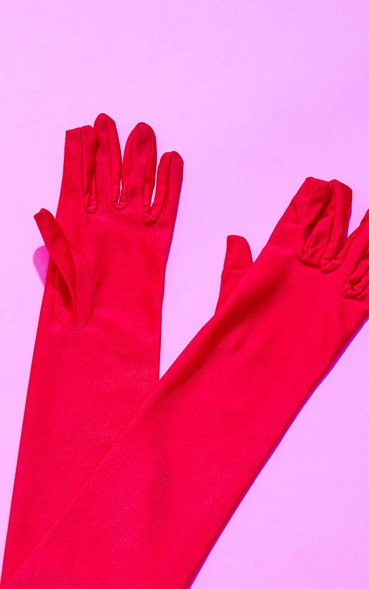 Red Plain Satin Long Gloves 3