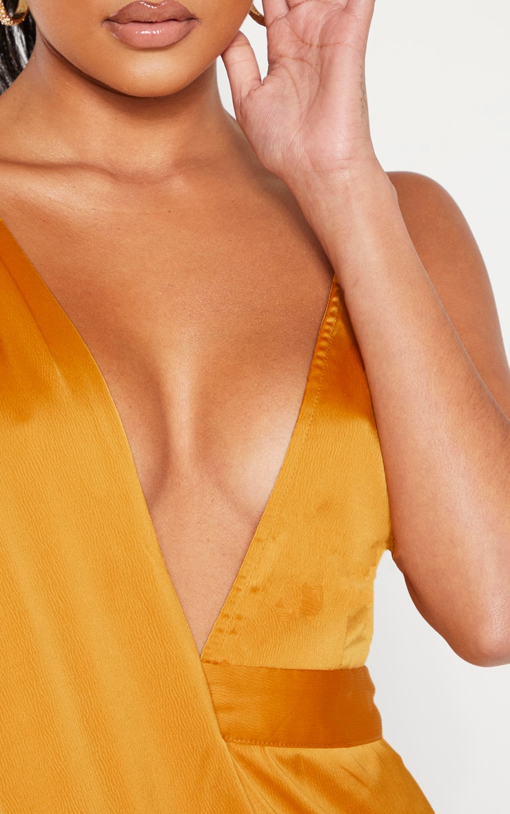Mustard Asymmetric Drape Detail Maxi Dress 5