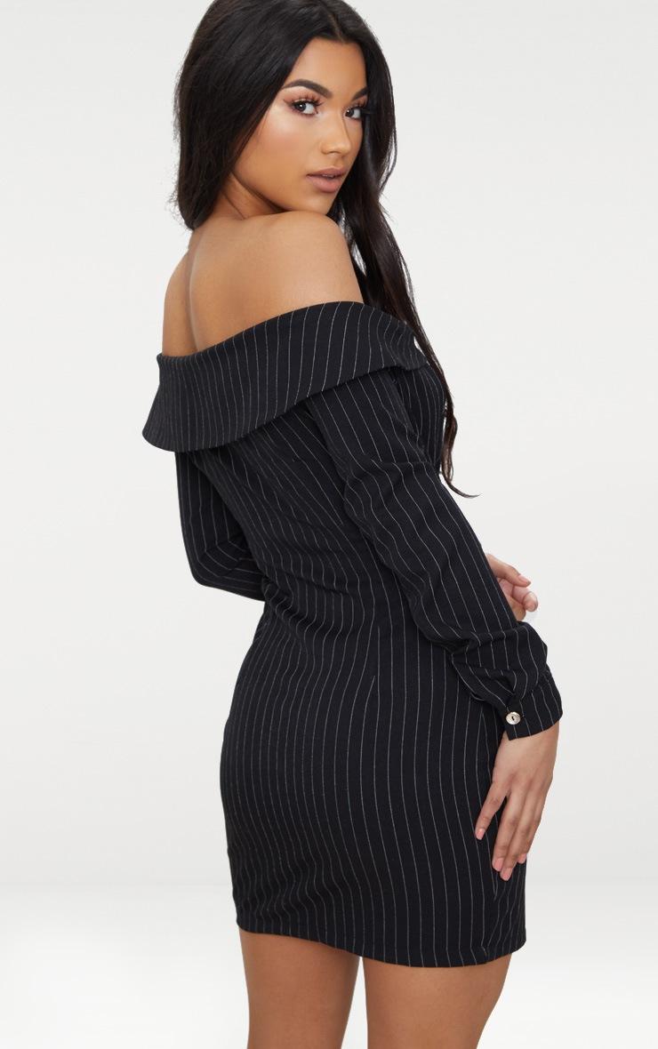 Black Striped Bardot Button Detail Bodycon Dress 2