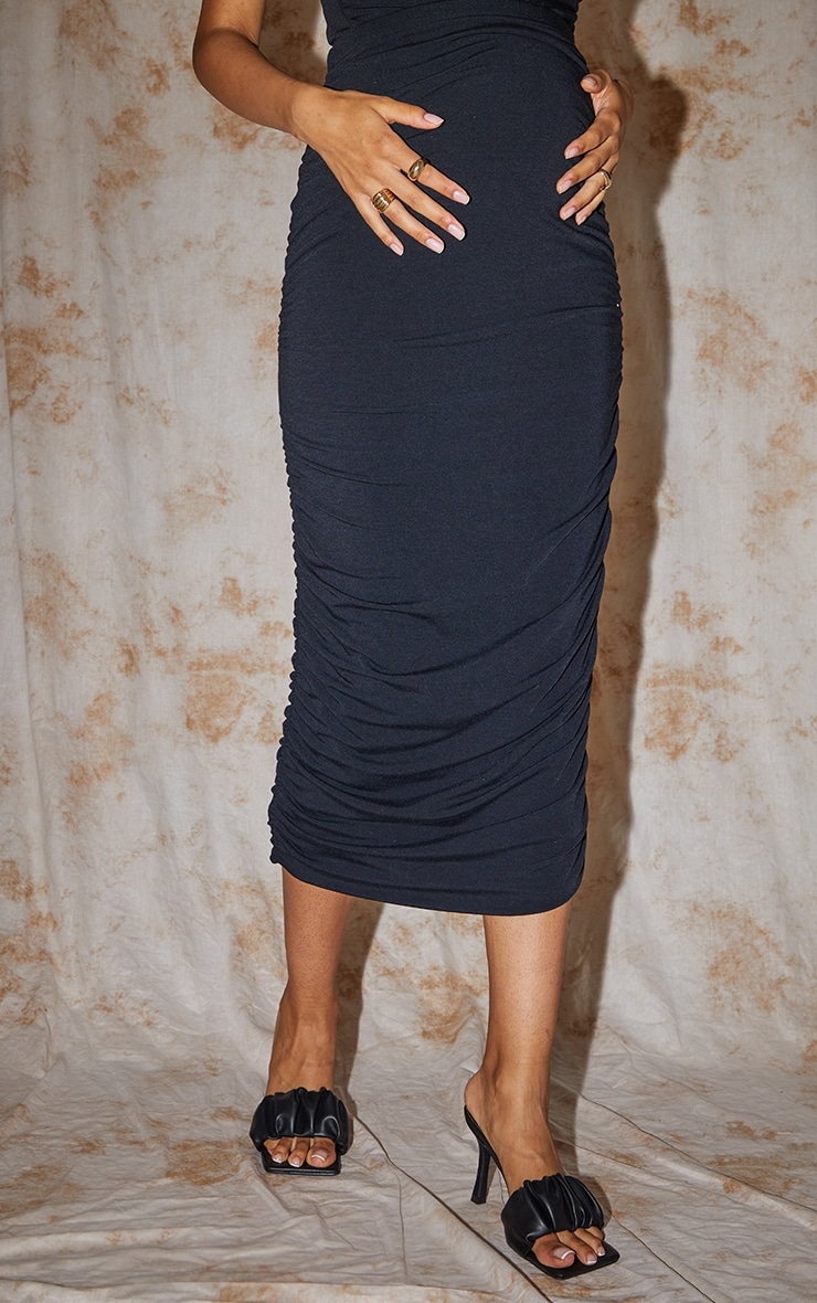 Recycled Maternity Black Contour Jersey Ruched Midaxi Skirt 2
