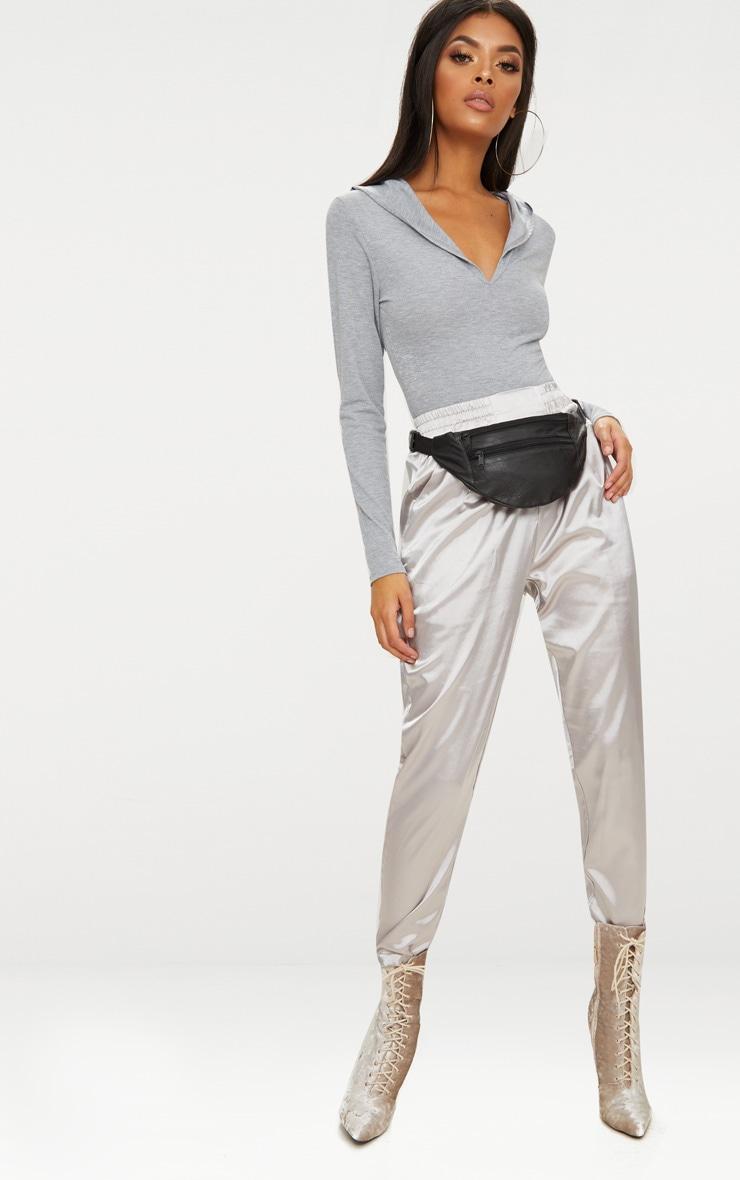 Grey Jersey Hoodie Bodysuit 5