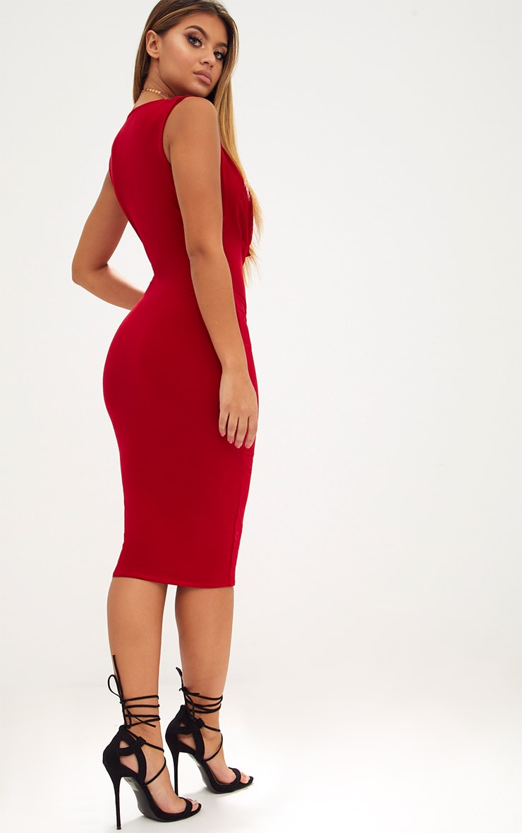 Red Slinky Cowl Neck Midi Dress 2