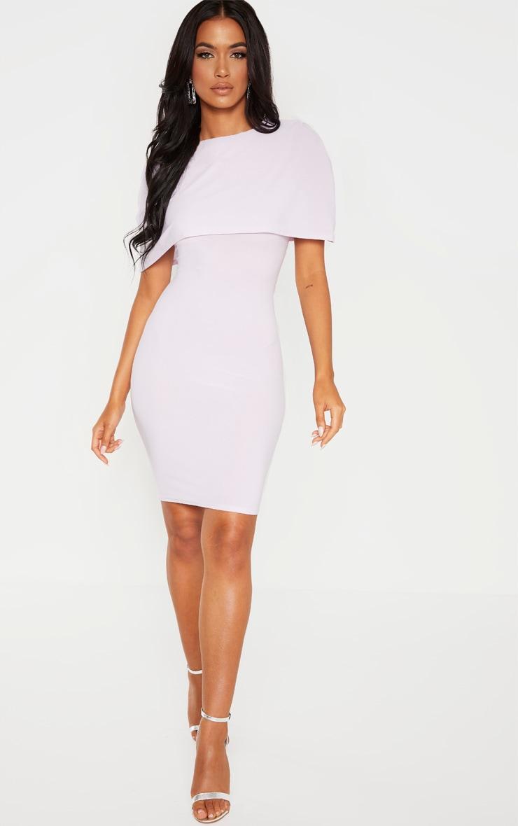 Lilac Cape Detail Midi Dress 1