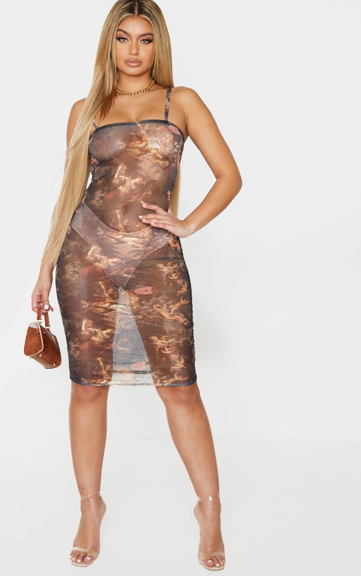 Multi Renaissance Print Mesh Ruched Strappy Bodycon Dress 1