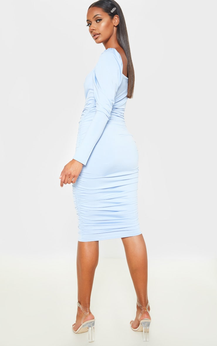 Baby Blue Square Neck Lace Up Ruched Midi Dress 2