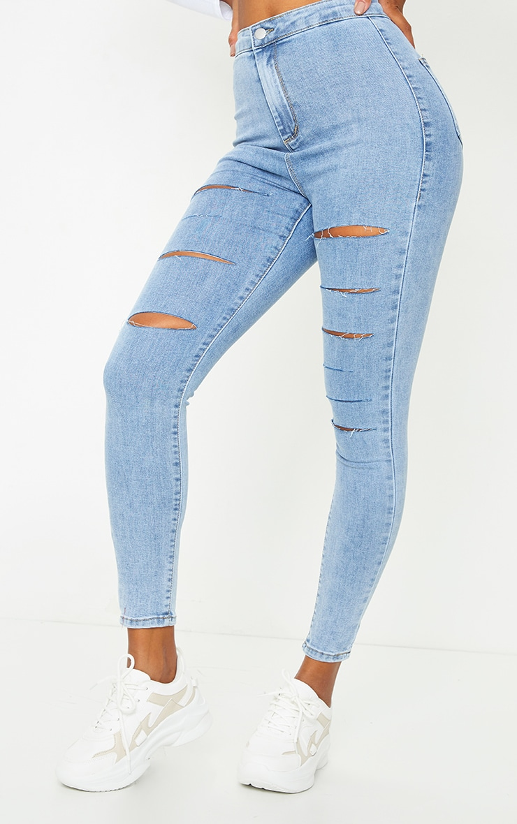 PRETTYLITTLETHING Vintage Wash Rip Distressed Disco Skinny Jeans 2