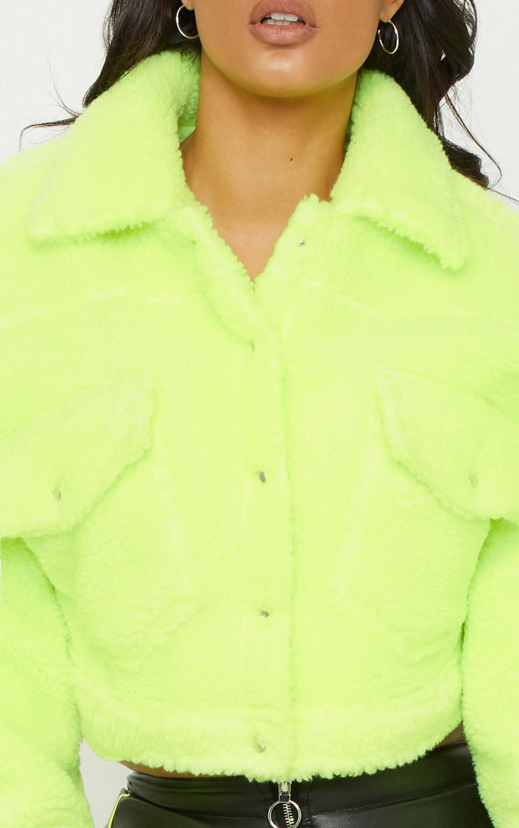 Neon Green Borg Cropped Trucker Jacket  5