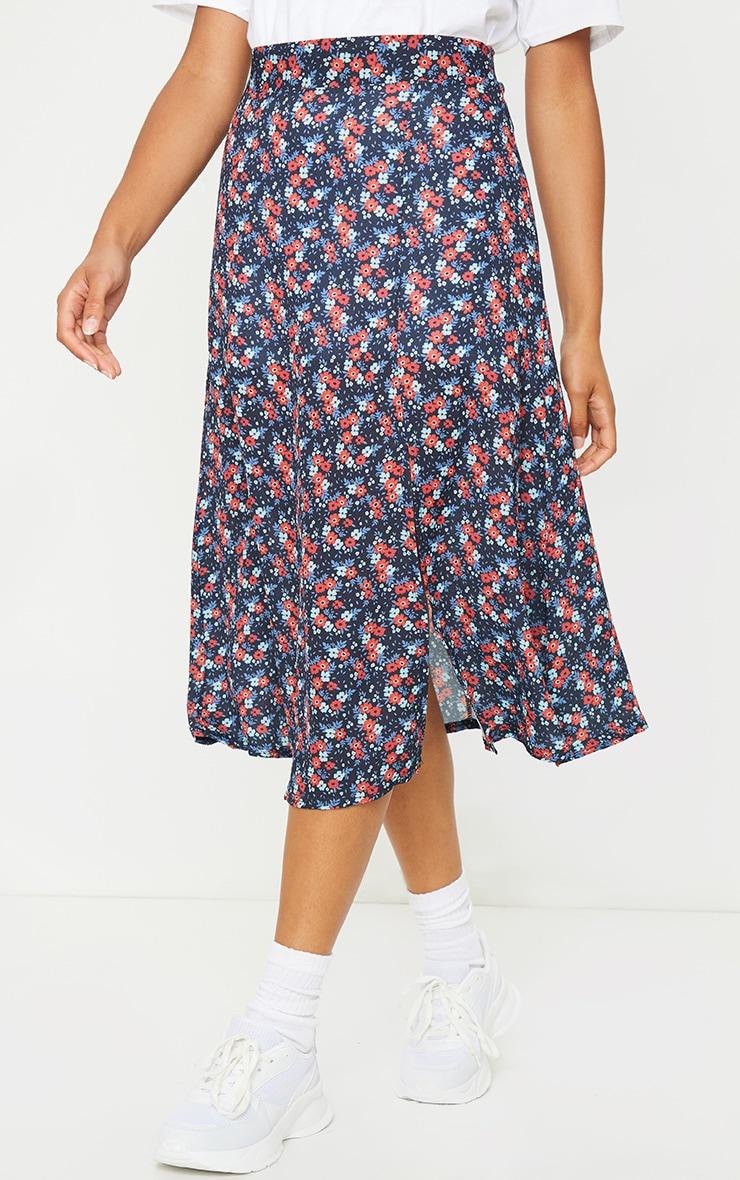 Black Floral Floaty Midi Skirt 2