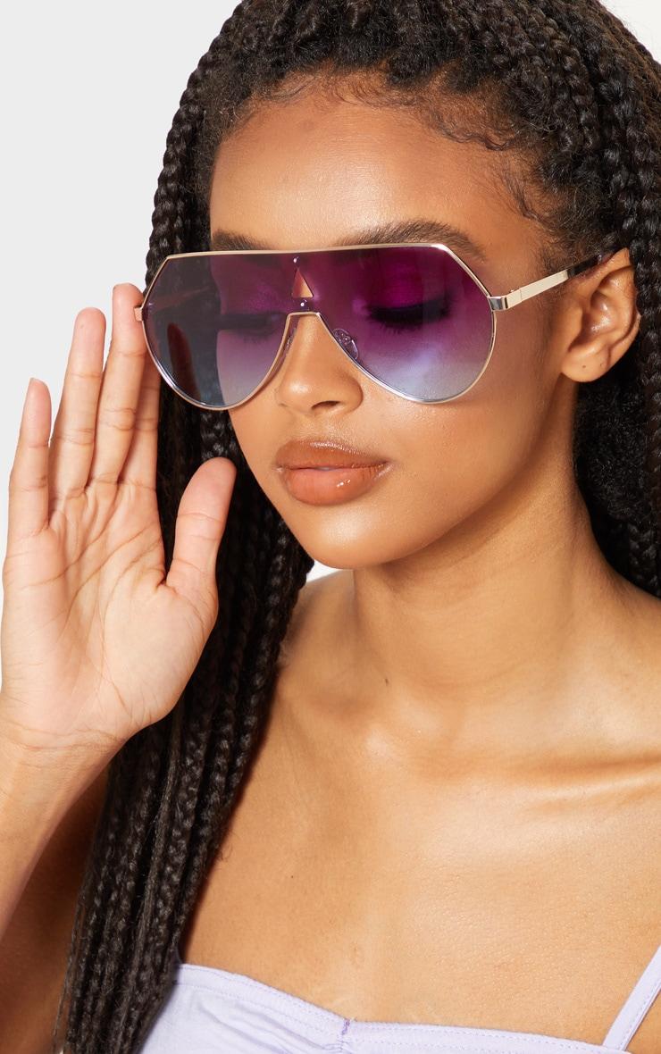 purple fade oversized flat top sunglasses