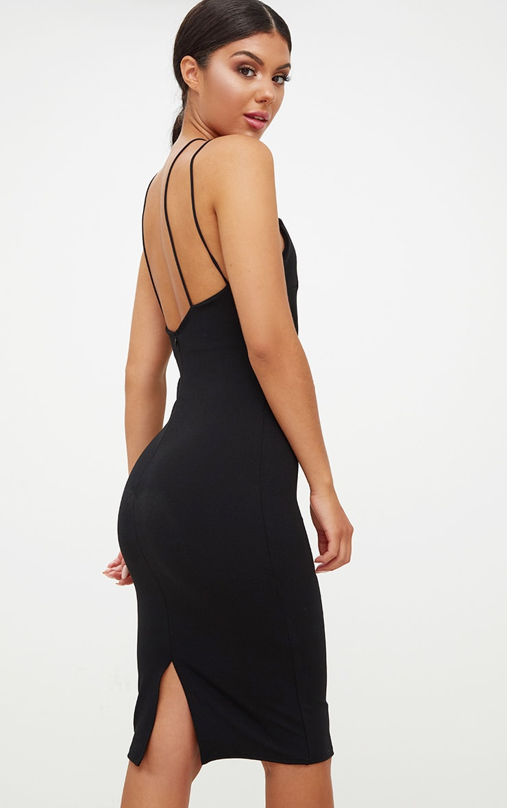 Black Cross Front Strappy Back Plunge Front Midi Dress 2