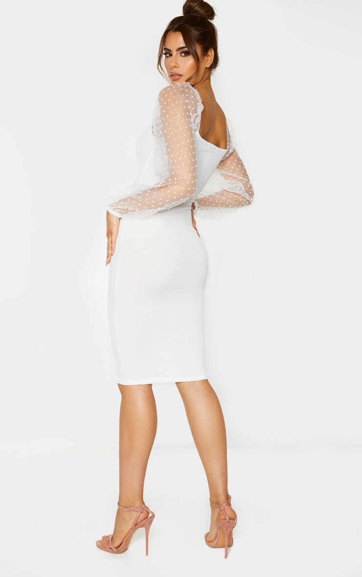Tall White Polka Dot Organza Sleeve Midi Dress 2
