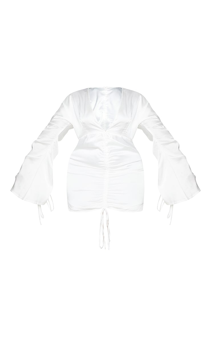 Plus White Satin Plunge Ruched Front Dress 5