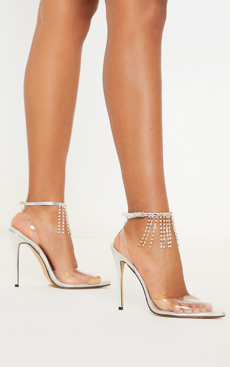 Silver Diamante Tassel Clear Court Shoe 2