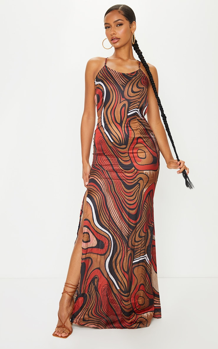 Multi Satin Abstract Print Low Back Halterneck Maxi Dress 2
