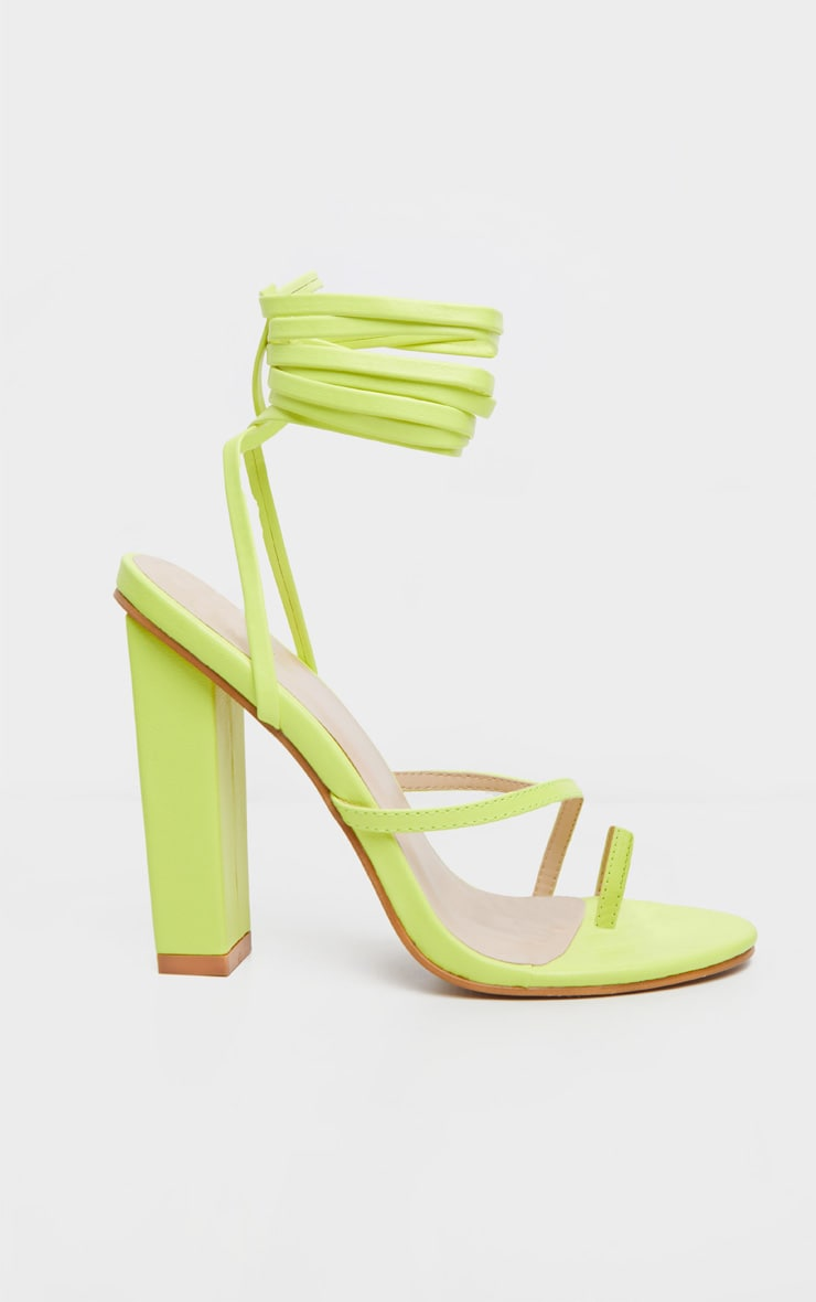 Neon Yellow Toe Loop Heeled Sandal 3