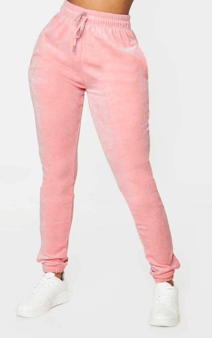 PRETTYLITTLETHING Shape Dusty Pink Velour Skinny Jogger 2