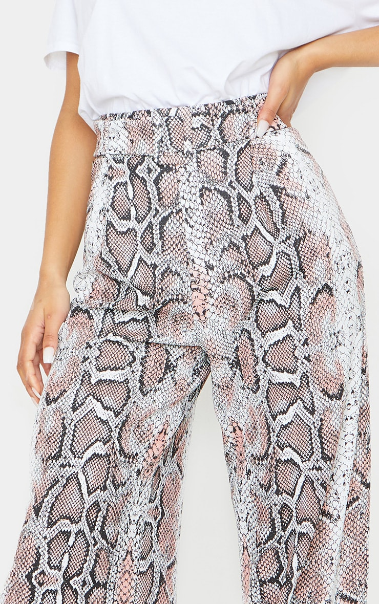 White Snake Belted Wide Leg Trousers 4