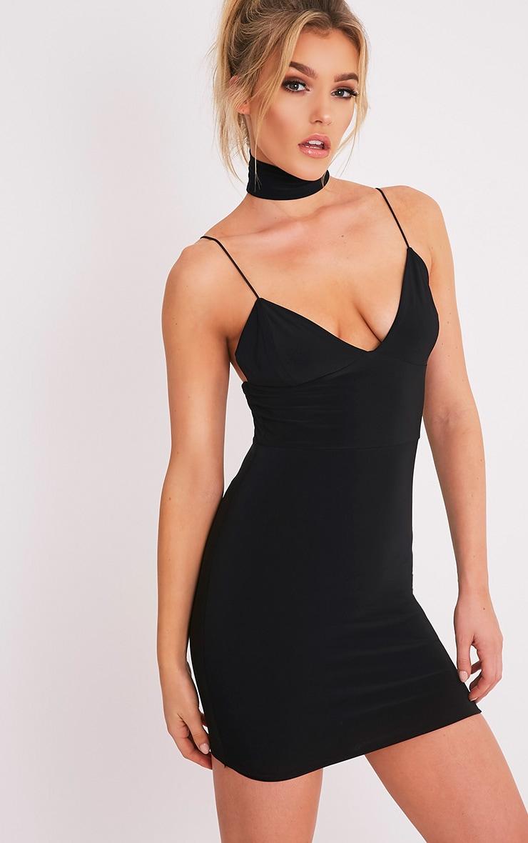 Ayishah robe moulante plongeante à bretelles près du corps noire 4