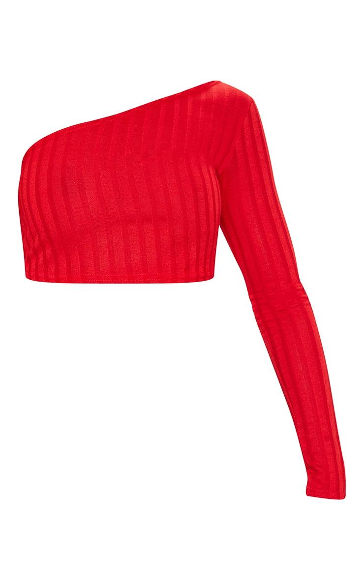 Red Rib Knit One Shoulder Long Sleeve Asymmetric Top 3