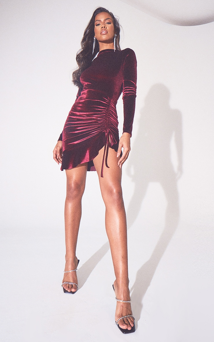 Burgundy Velvet Ruched High Neck Frill Hem Bodycon Dress 5