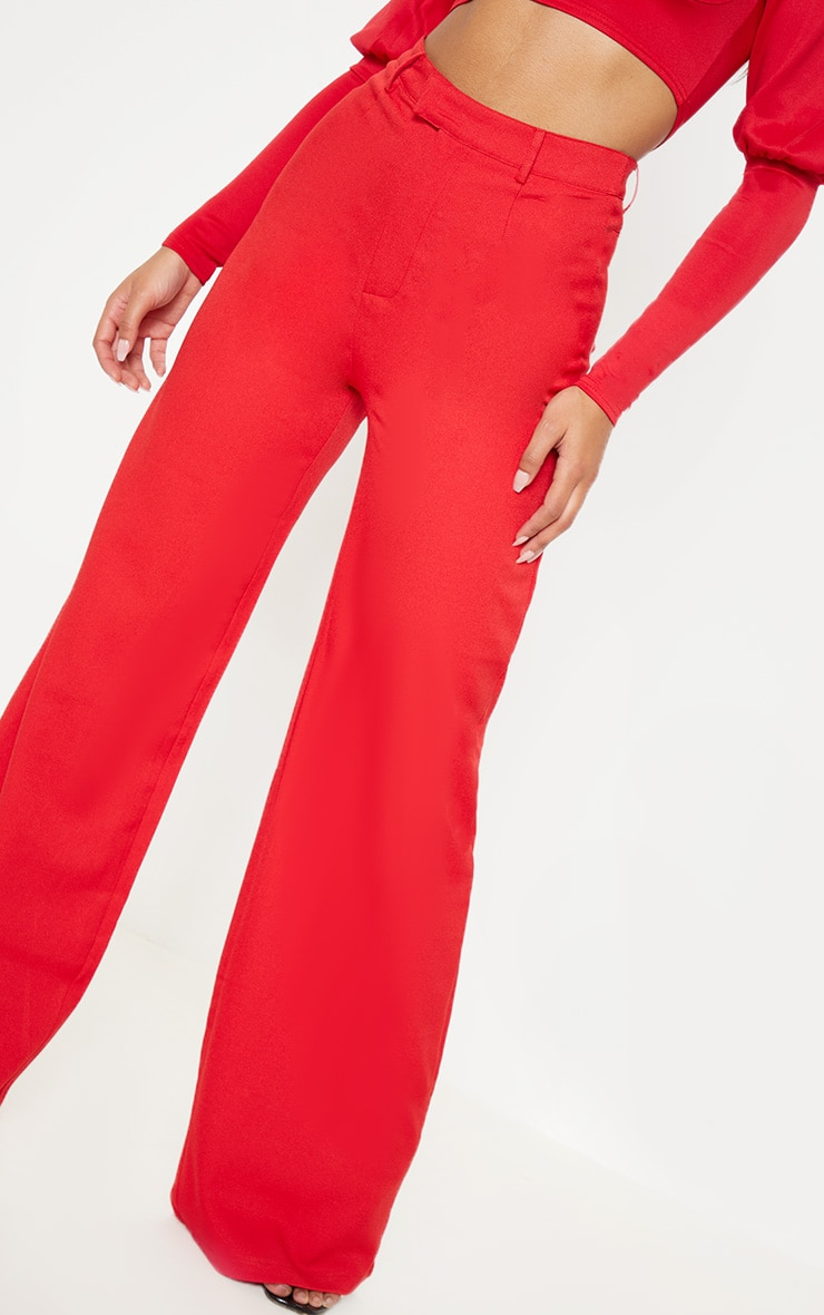Red Wide Leg Crepe Trousers 5