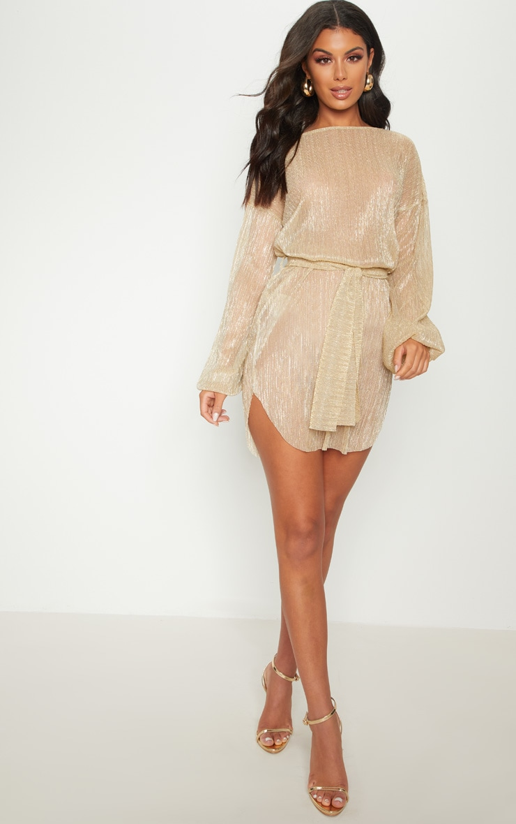 Gold Plisse Balloon Sleeve Sheer Shift Dress 4