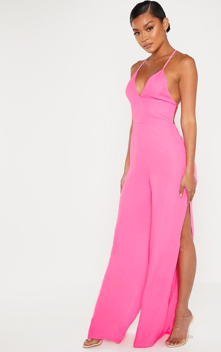 Bright Pink Plunge Side Split Leg Jumpsuit 4